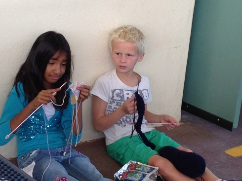 3rd graders chattin' and knittin'.