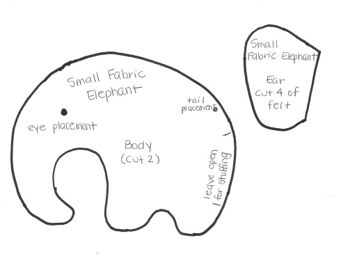 Small Fabric Elephant-Pattern