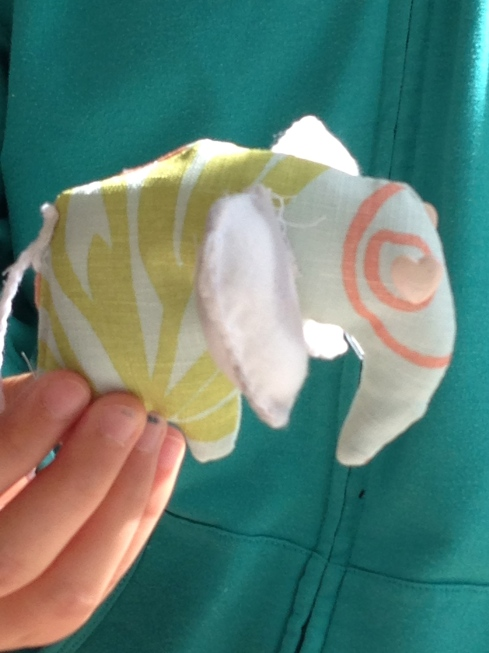 Close up of 7th grader elephant stuffie.