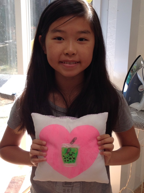 7th grader fabric painted pillow.