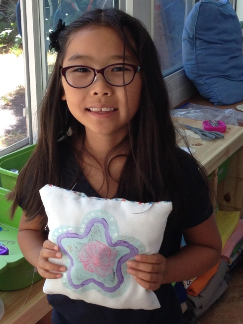 3rd grader fabric painted pillow.