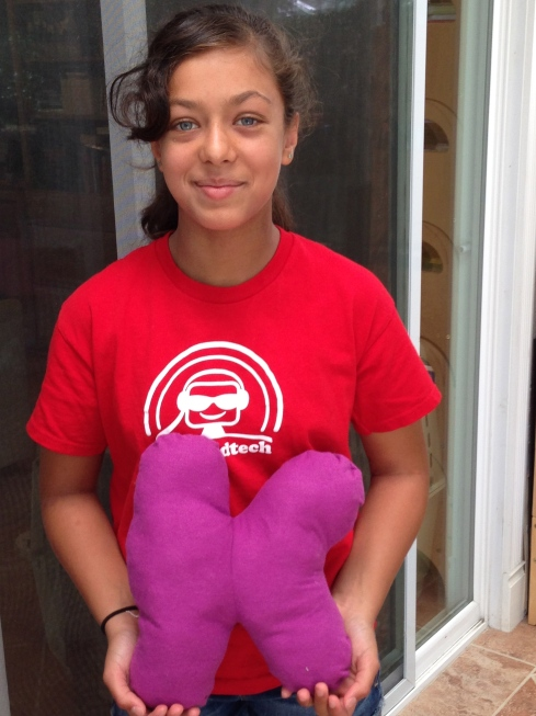 """6th grader """"K"""" pillow."""
