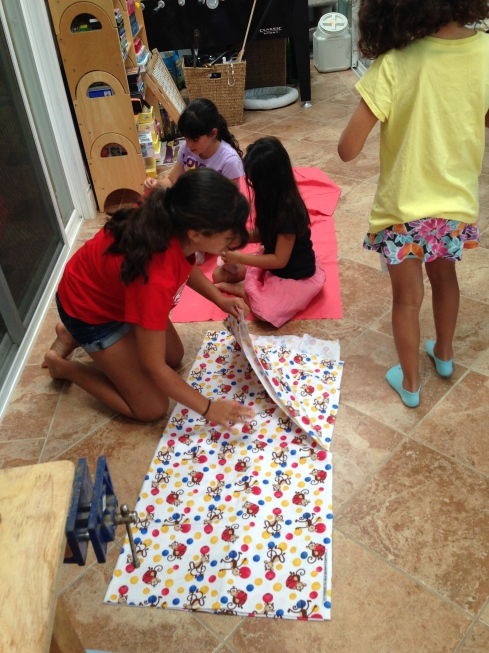 6th grader starting a pillow for her sister.