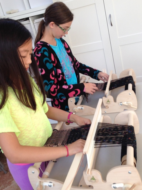 Starting the weaving process with waste yarn.