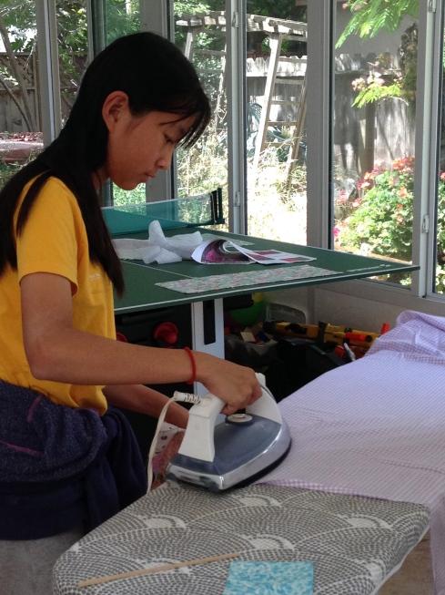 7th grader ironing.