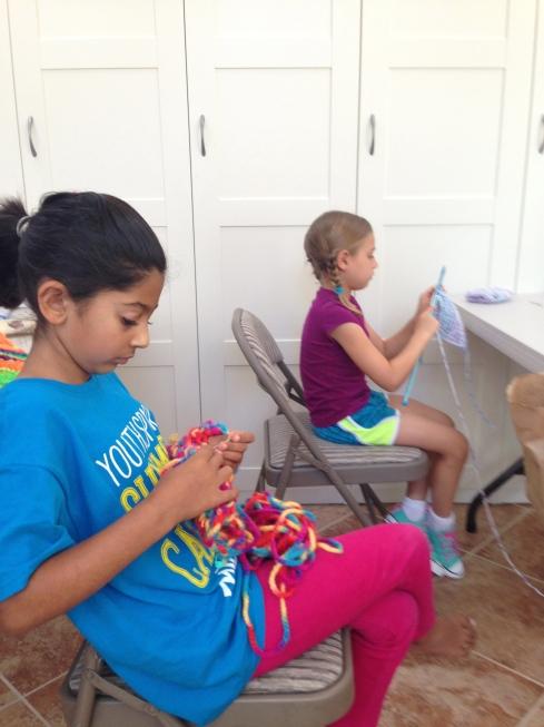 Finishing up knitting.