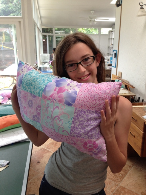 7th grader patchwork pillow.