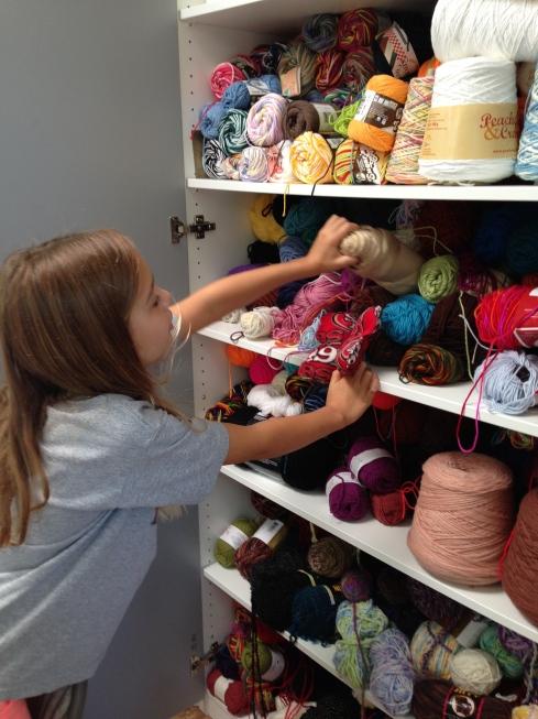 Picking yarn for antennae.