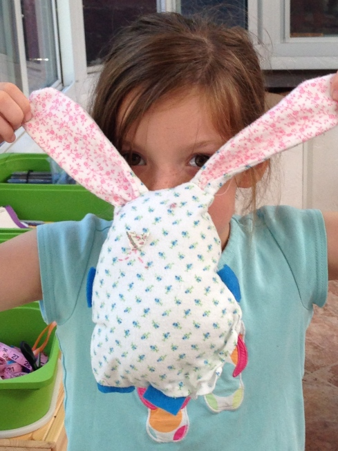 1st grader bunny pillow.