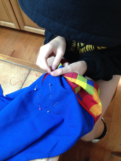 7th grader sewing.