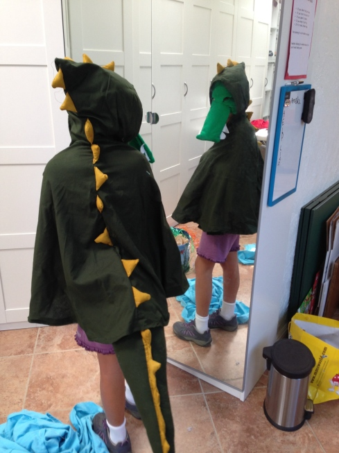 2nd grader dinosaur costume.