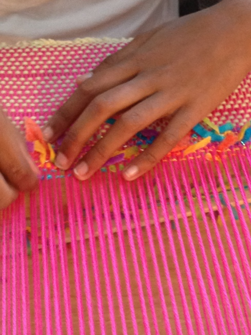 Weaving with ribbon yarn.