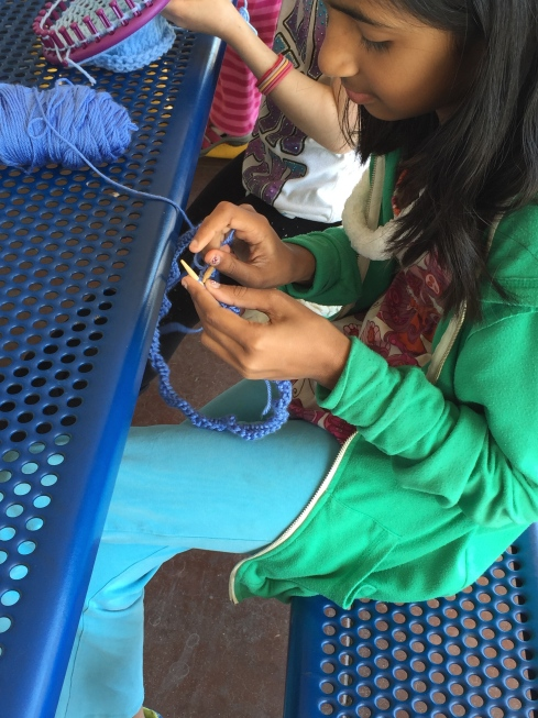 Making a cowl on circular needles.