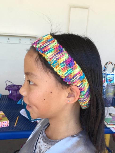 Side of headband to show stitch detail.
