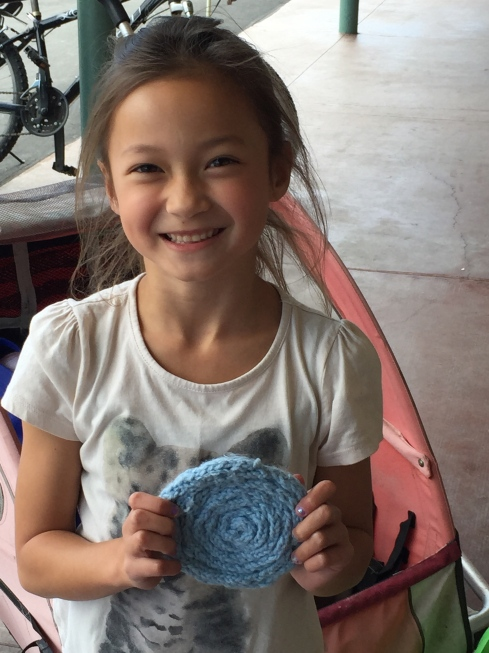 Spool knitted coaster.