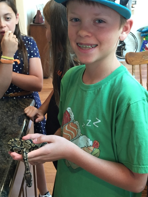 Camper holding our snake.