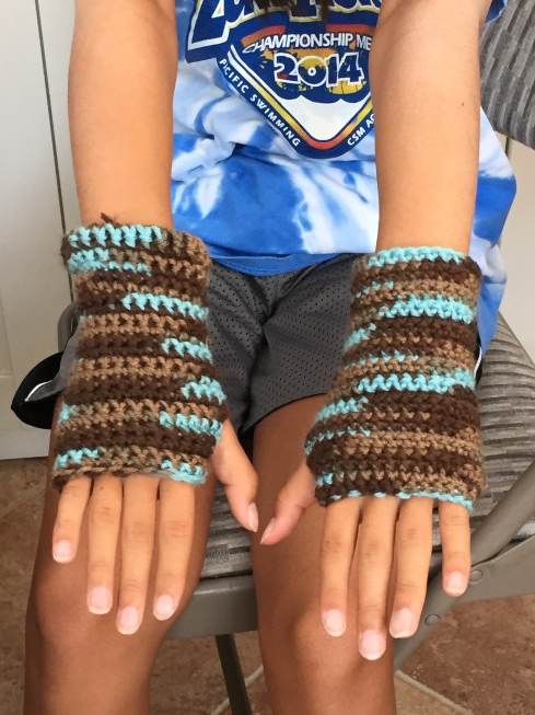 Close-up of the wrist warmers.