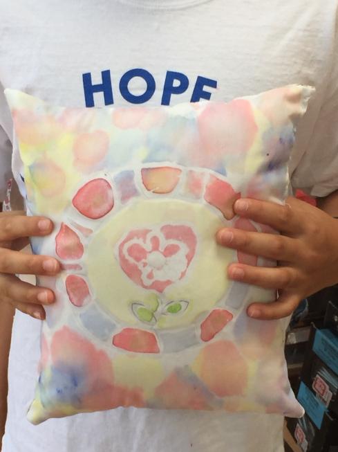 Closeup of batik fabric pillow.