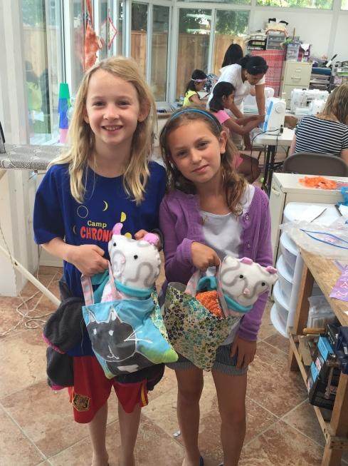 Batik fabric tote bags for their bears.