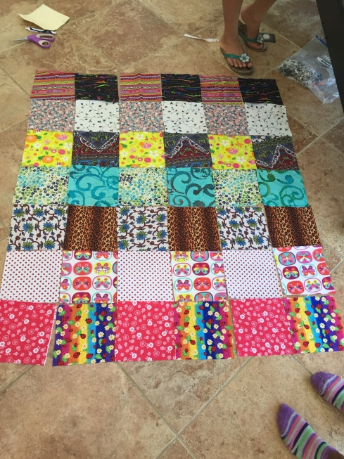 Finalized fabric layout for a quilt.