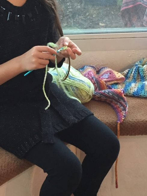 Learning to crochet.